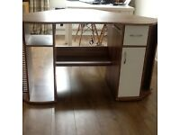 Large computer desk with lots of storage , two side drawers, two side cupboards.