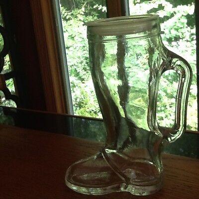 Vintage COWBOY BOOT Drinking Glass Mug Clear 6.25