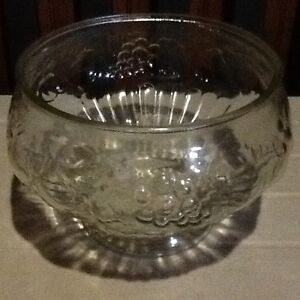 Punch bowl set - heavy ornate glass