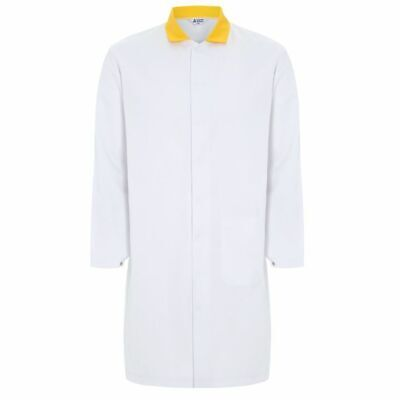 "Men's White Food Trade / Lab Coat with Yellow Collar – 116cm (46"")"