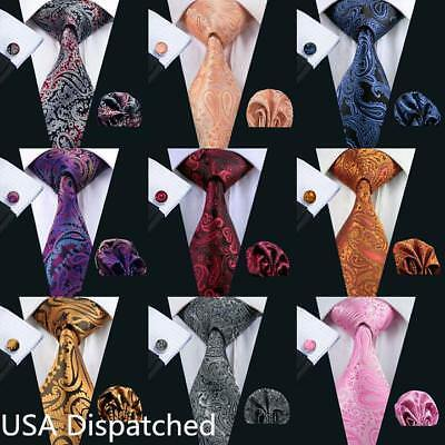 USA Mens Paisley Silk Tie Set 68 Colors Red Blue Black Gold Pink Necktie -