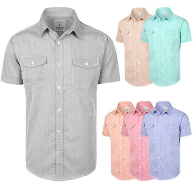Men's Button Up Casual Short Sleeve Pastel Chambray Woven Shirts, BRAND NEW Button Up Woven Shorts