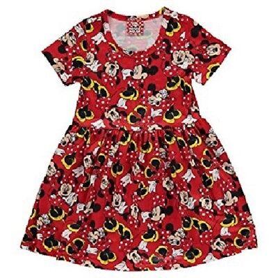 Mädchen 7-8 Rot Schwarz Disney Minnie Maus Kurzärmeliges Jersey Skater - Jersey Mädchen Kostüm