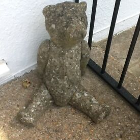 Large old stone garden teddy bear statue