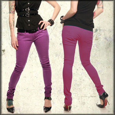 Lip Service Rock N Roll Skull Womens Junkie Skinny Jeans Purple $100 NEW 25-30 Service Rock N Roll Jeans