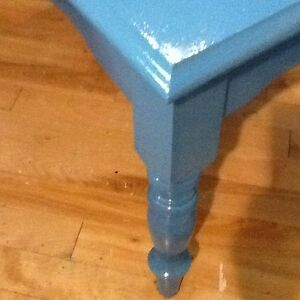 2 blue solid wood side tables