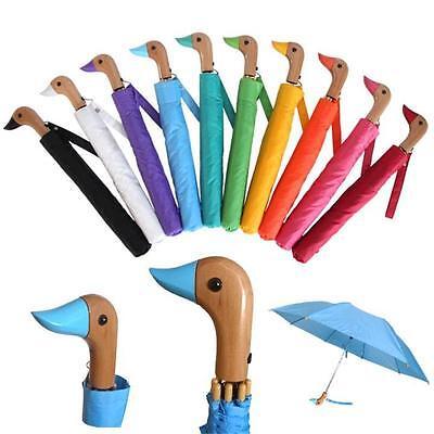 "Auto Open Wooden DUCK Handle 18"" Folding Umbrella 44"" Arc 10 Colors Available"
