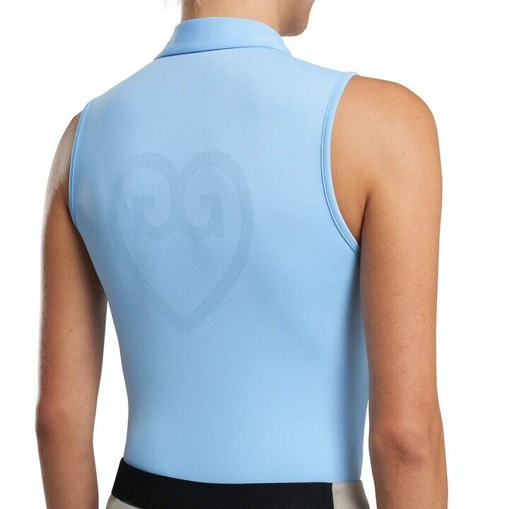 G/Fore Perforated Sleeveless Polo S M L Heart Logo Baja Blue Womens Golf