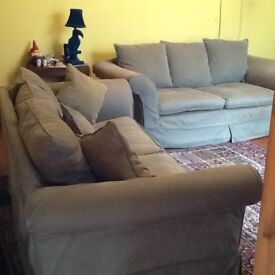 Two Laura Ashley sofas - light olive green