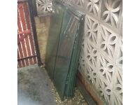 "14 Glass shelving makes good garden cloches approximately 18"" dy 46 1/2"""