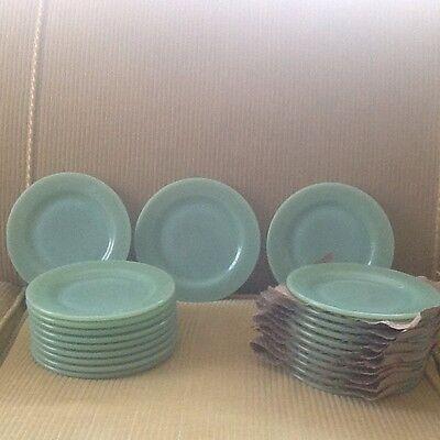 "Set Of 8 Jadite Fire-King Restaurant Ware 6 3/4"" Plates"