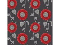 Brand new wallpaper sunflower motif red