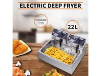 Oil Pan Total Capacity 23.26Qt/22L Stainless Steel Large Electric Fryer 5000W Max