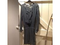 Smokey/grey/blue just above knee dress from Wrap Clothing