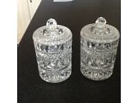 Pair of crystal storage jars