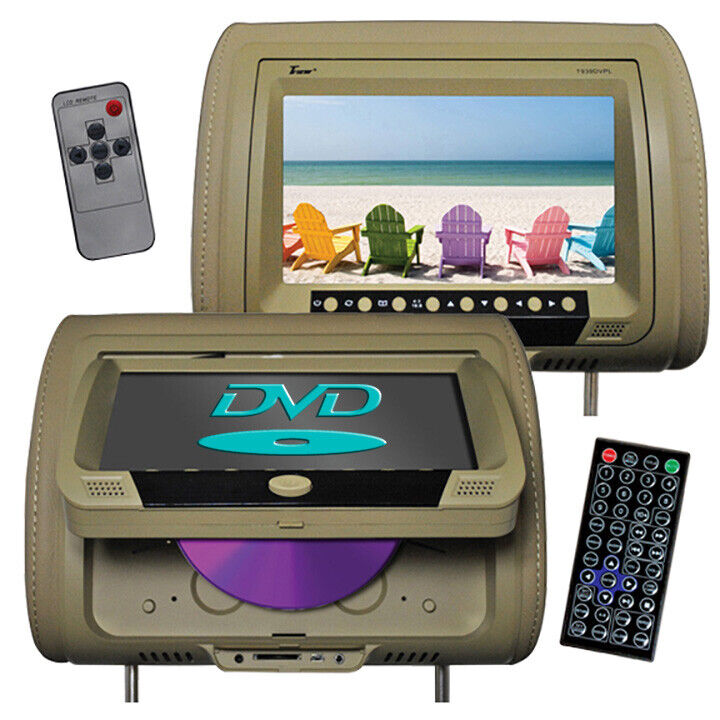 """TVIEW T939DVPL-TN Tview 9"""" Headrest Monitor with DVD Player Sold in Pairs Tan"""