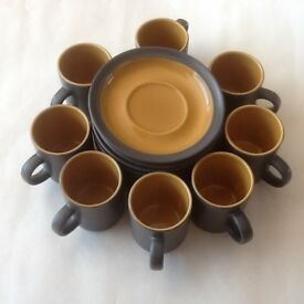 8 Espresso coffee cups and saucers in grey & yellow