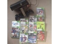 Xbox 360 with 2 controllers and 12 games including FIFA 17