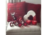 Red cushions from next and red accessories for living room, bedroom etc