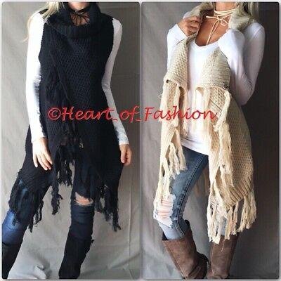 Women's Boho Fringe Crochet Knit Sleeveless Cardigan Style Poncho Fall Tunic Top (Crochet Knit Fringe)