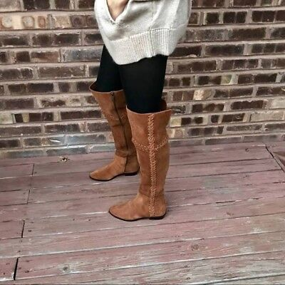 NEW Michael Kors Malin Caramel Suede Leather Over The Knee Boot Women's 7 $395