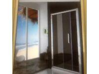 1100x1850mm Single shower door enclosure in Chrome.