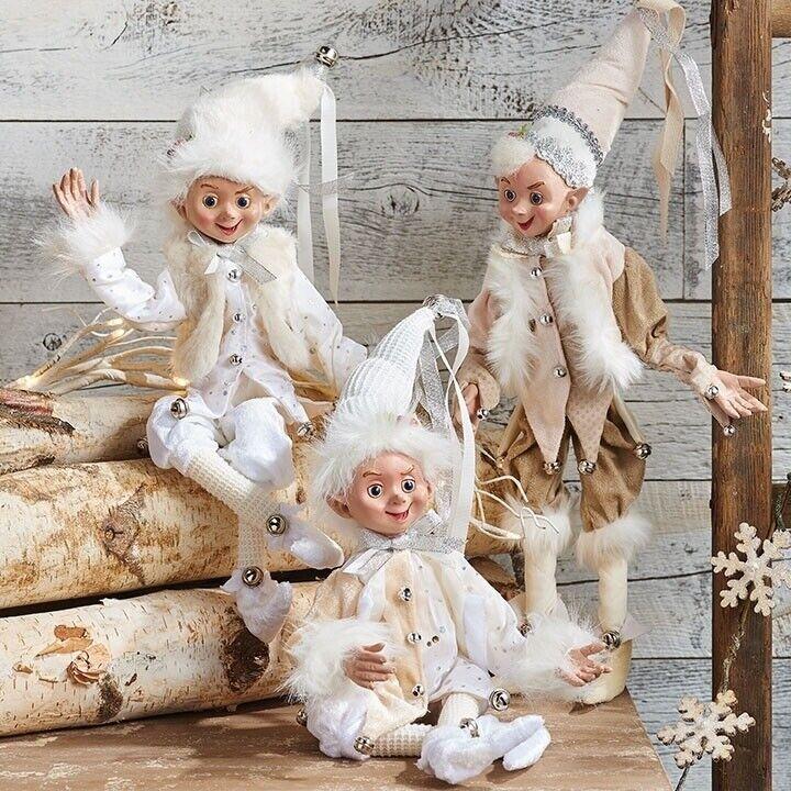 "RAZ Imports 19"" Posable Elves Elf Set/3 White Fur Decor Ornaments Christmas NEW!"