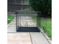 Medium black 2 door folding dog crate