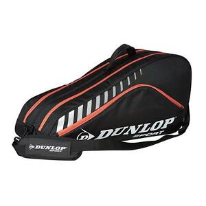 DUNLOP CLUB 6 TENNIS RACQUET BAG - BLACK/RED -  NEW