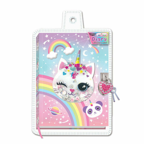 "Diary Set with Lock and Key 7"" Caticorn Girls Stationary, Art Supplies"
