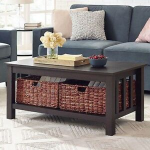 """40"""" Wood Storage Coffee Table w/ Totes in Espresso"""