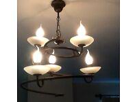 Wrought iron effect spiral pendant light and matching wall light