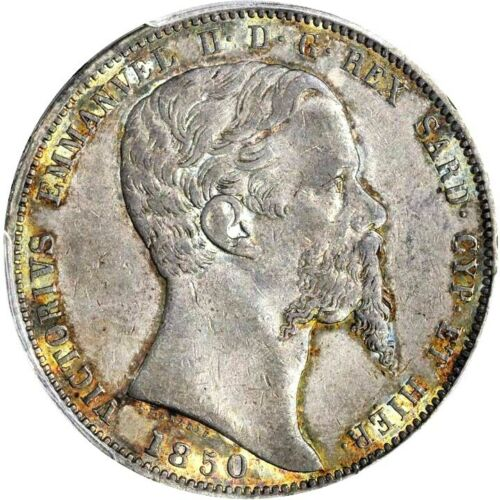 1850 Italian States, Sardinia 5 Lire, PCGS AU 55, KM 144.2 Italy Anchor Mintmark
