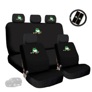 Frog Embroidery Logo Car Seat Covers Headrest Steering Wheel Cover For JEEP