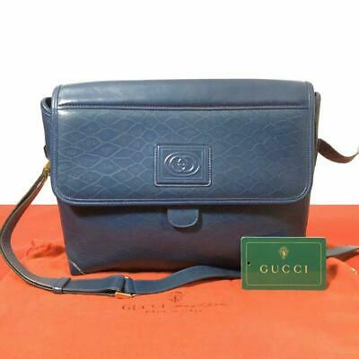 GUCCI VINTAGE LEATHER LADIES SHOULDER BAG NAVY COLOR ORIGINAL F/S FROM JAPAN
