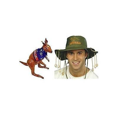 Aufblasbare Kostüme Australien (Australischer Kork Hut & Aufblasbares Känguru Aussie Australien Kostüm)