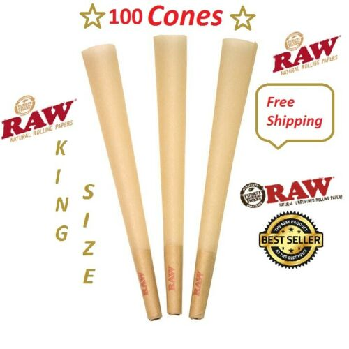 Authentic Raw King Size pre rolled Cones W/Filter tips (100 CONES) Free Shipping