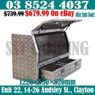 2 Bottom Drawers Aluminium Half Side Opening Toolbox 1220x550x820