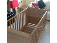 Silver cross solid pine cot that converts to a bed