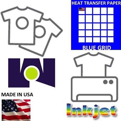 Heat Transfer Paper Iron-on Dark T-shirt Inkjet Paper 50 Pk 8.5x11 Blue Grid