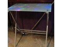 Small duck egg blue Glass table approx 40x 50 with satin chrome legs