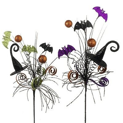 listing for rogia SET/2 RAZ IMPORTS HALLOWEEN DECOR FLORAL PICK WITCH HAT SPRAY