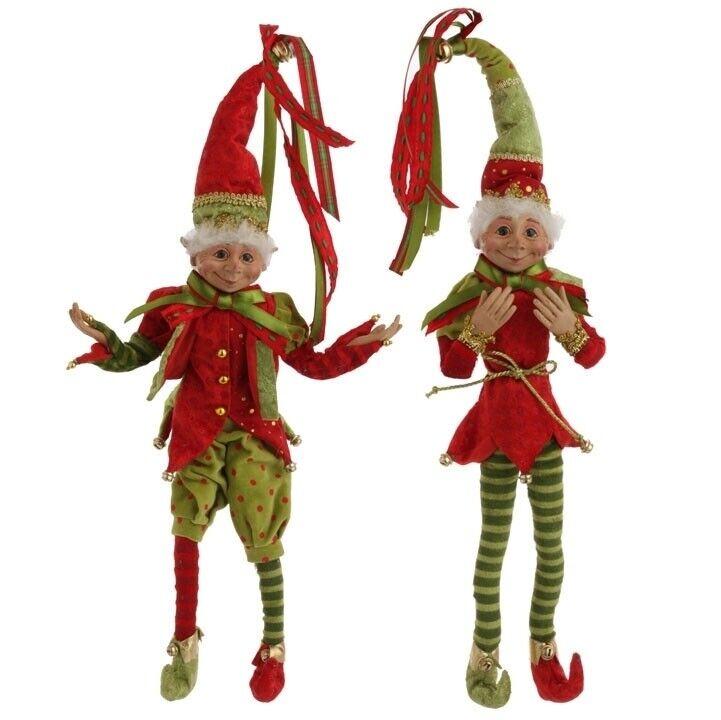 RAZ Imports 20 Inch Posable Elves Elf Set/2 Red Green Christmas NEW! BEST SELLER