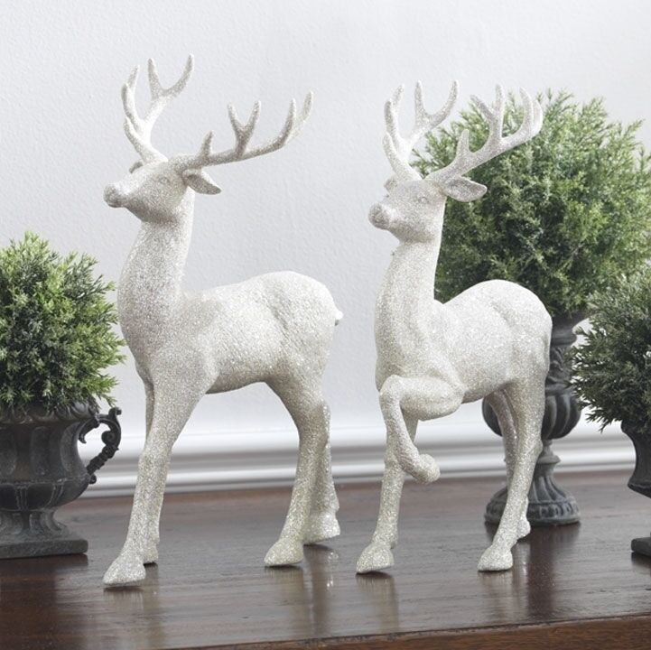 RAZ Imports 12.5 inch Glittered White Standing Deer Reindeer Set/2 Christmas NEW