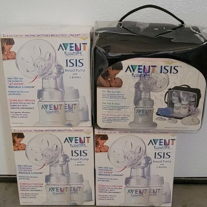 Lot of 3 New Philips AVENT ISIS Breast Pump 2 Packs + On The Go Set