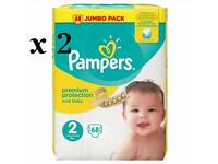Pampers Size 2 Jumbo Pack 68 Nappies x2