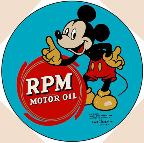 """Mickey Mouse RPM Motor Oil 28"""" Round Metal Sign"""