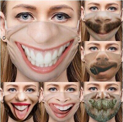 Mundschutz Maske D lustiges Motiv Grinsen Lächeln Bart TOP deutscher Versand