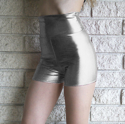 Silver Metallic High Waisted Hot Shorts Shiny Pinup 50's Inspired Lame Spandex - Silver Lame Shorts