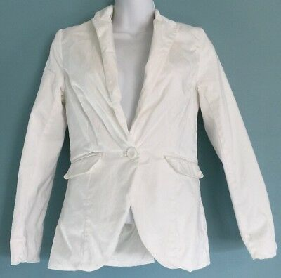 H & M Conscious Collection Winter White Cotton Business Casual Blazer | Size 4